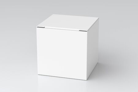 Blank white cube gift box with closed hinged flap lid on white background. 3d illustration