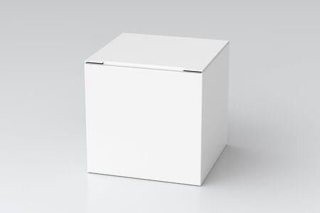 Caja de regalo de cubo blanco en blanco con tapa de solapa con bisagras cerrada sobre fondo blanco. Ilustración 3d