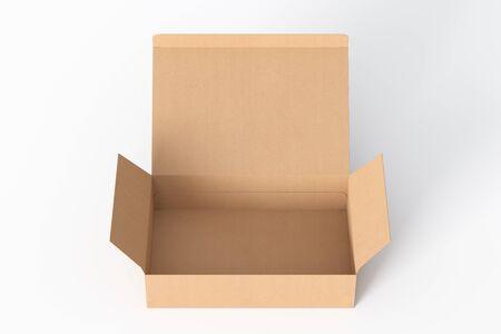 Lege kartonnen brede platte doos met geopend scharnierend klepdeksel op witte achtergrond. 3d illustratie