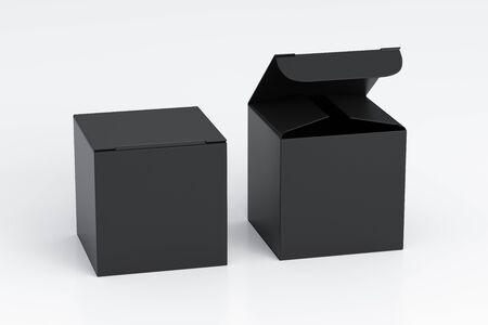 Caja de regalo de cubo negro en blanco con tapa abatible abierta y cerrada sobre fondo blanco. Ilustración 3d Foto de archivo