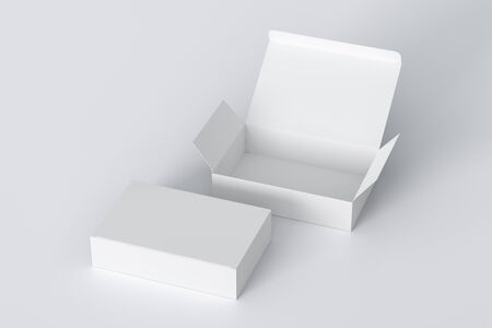 Blank white wide flat box with open and closed hinged flap lid on white background. 3d illustration