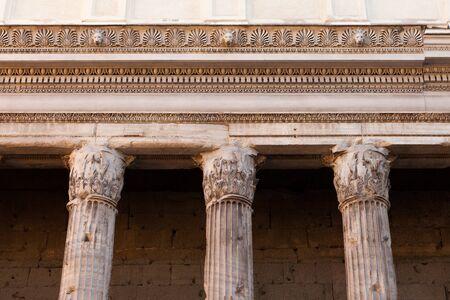 Columns of the Temple of Hadrian (Templum Divus Hadrianus, also Hadrianeum) on the Campus Martius in Rome, Italy Archivio Fotografico