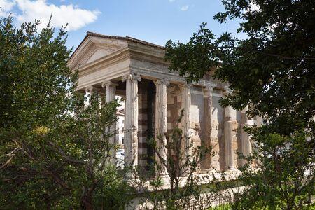 The Temple of Portunus (Tempio di Portuno) or Temple of Fortuna Virilis. Roman temple in Rome, Italy
