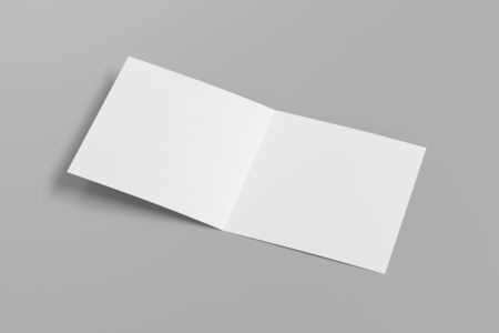 Blank square pages leaflet on gray background. Bi-fold or half-fold opened brochure isolated. Side view. 3d illustration