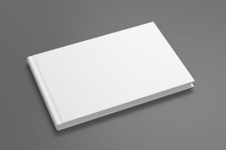 Blank horizontal book cover mock up on gray background. Side view. 3d illustration