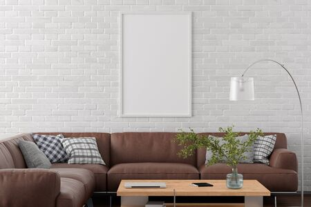 Blank vertical poster frame on white brick wall in interior of living room with clipping path around poster. 3d illustration