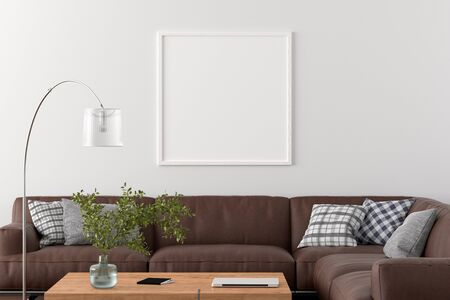 Blank square poster frame on white wall in interior of living room with clipping path around poster. 3d illustration