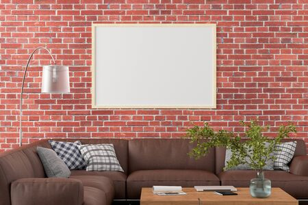 Blank horizontal poster frame on red brick wall in interior of living room with clipping path around poster. 3d illustration