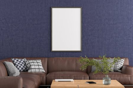 Blank vertical poster frame on blue concrete wall in interior of living room with clipping path around poster. 3d illustration