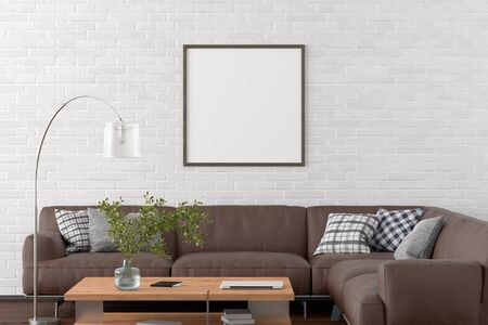 Blank square poster frame on white brick wall in interior of living room with clipping path around poster. 3d illustration