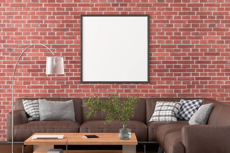 Blank square poster frame on red brick wall in interior of living room with clipping path around poster. 3d illustration Standard-Bild