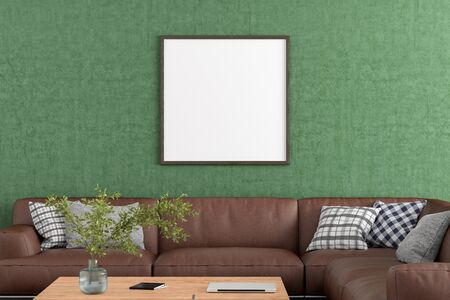Blank square poster frame on green concrete wall in interior of living room with clipping path around poster. 3d illustration