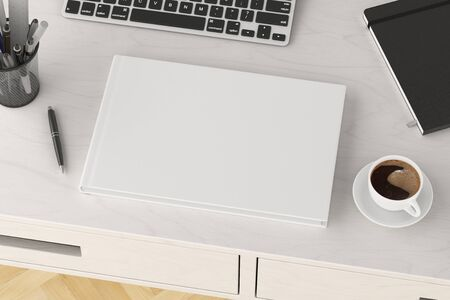 Horizontal book cover mock up. Workspace on white wooden desk with cup of coffee. Side view. 3d render Standard-Bild