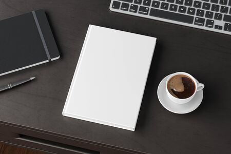 Vertical book cover mock up. Workspace on black wooden desk with cup of coffee. Side view. 3d render