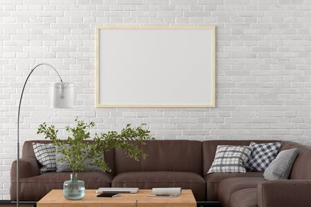 Blank horizontal poster frame on white brick wall in interior of living room with clipping path around poster. 3d illustration