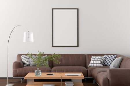 Blank vertical poster frame on white wall in interior of living room with clipping path around poster. 3d illustration Standard-Bild