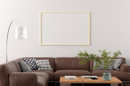 Blank horizontal poster frame on white wall in interior of living room with clipping path around poster. 3d illustration