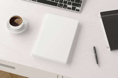 Vertical book cover mock up. Workspace on white wooden desk with cup of coffee. Side view. 3d render Standard-Bild