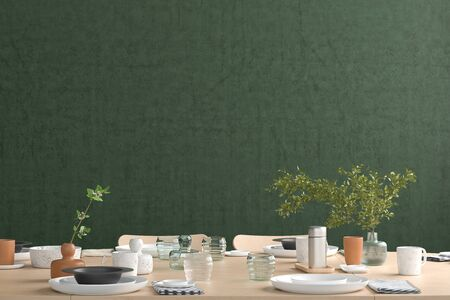 Blank green wall mock up in the dinning room with served table. 3d render Standard-Bild