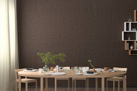 Blank brown wall mock up in the dinning room with served table. 3d render Standard-Bild