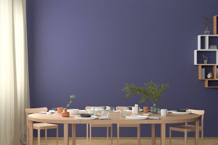 Blank blue wall mock up in the dinning room with served table. 3d render