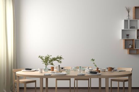 Blank white wall mock up in the dinning room with served table. 3d render