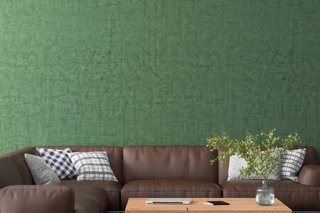 Blank green wall mock up in the living room. 3d rendering