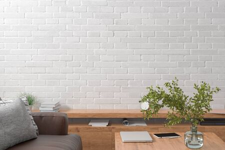 Blank white brick wall mock up in the living room. 3d rendering Standard-Bild