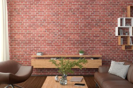 Blank red brick wall mock up in the living room. 3d rendering