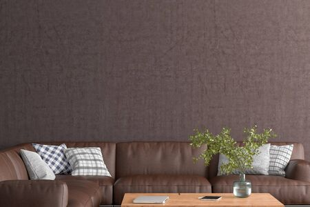 Blank brown wall mock up in the living room. 3d rendering