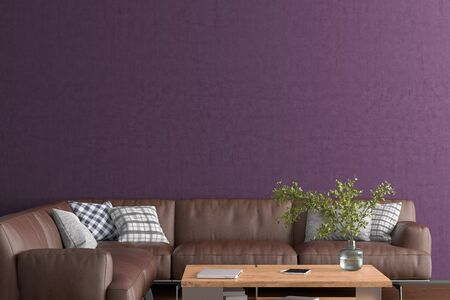 Blank purple wall mock up in the living room. 3d rendering