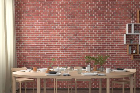 Blank red brick wall mock up in the dinning room with served table. 3d render