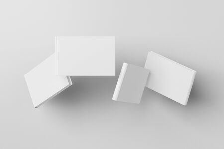 Horizontal blank book cover mock up flying over white background. Front, spine and back cover views. 3d illustration
