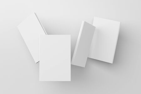Blank book cover mock up flying over white background. Front, spine and back cover views. 3d illustration