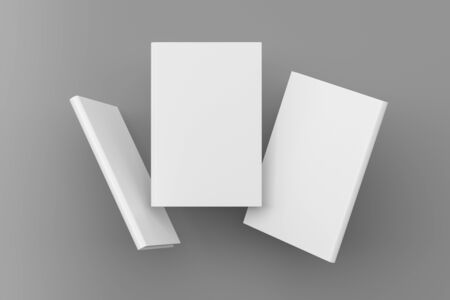 Blank book cover mock up flying over gray. Front, spine and back cover views. 3d illustration