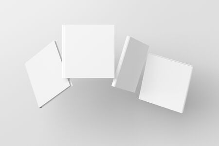 Square blank book cover mock up flying over white background. Front, spine and back cover views. 3d illustration