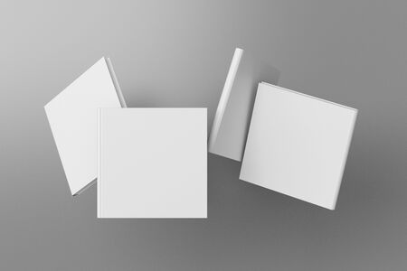 Square blank book cover mock up flying over gray. Front, spine and back cover views. 3d illustration Standard-Bild