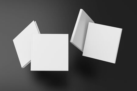 Square blank book cover mock up flying over black background. Front, spine and back cover views. 3d illustration