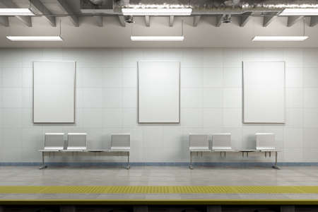 Three blank vertical posters mock up on the wall of underground subway station. 3d illustration
