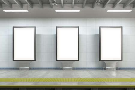 Billboard stands mock up on the underground subway station. 3d illustration
