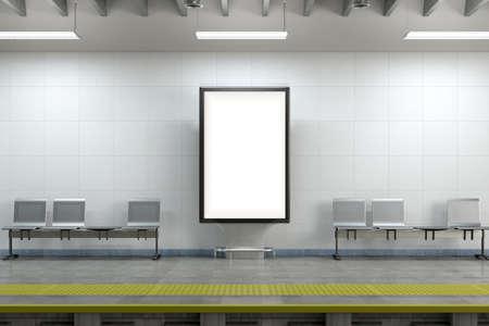Billboard stand mock up on the underground subway station. 3d illustration