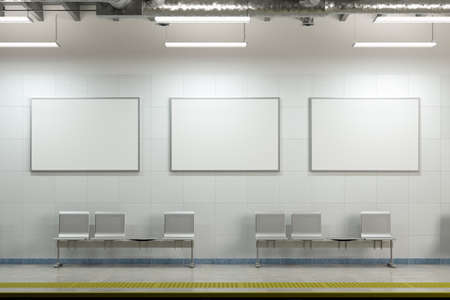 Three blank horizontal posters mock up on the wall of underground subway station. 3d illustration