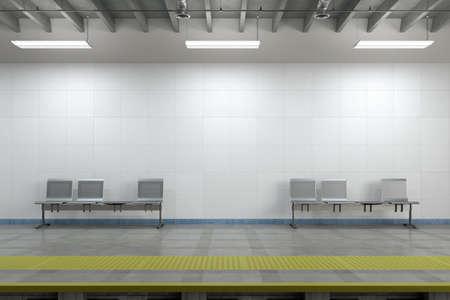 Blank wall of underground subway station mock up. 3d illustration