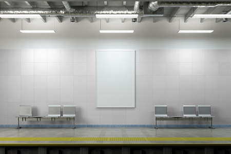 Blank vertical poster mock up on the wall of underground subway station. 3d illustration