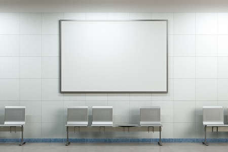 Blank horizontal poster mock up on the wall of underground subway station. 3d illustration