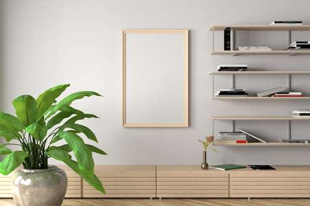Vertical blank poster frame mock up on white wall in interior of contemporary living room. 3d illustration Standard-Bild