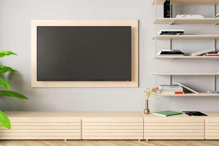 Blank TV screen mock up on the white wall of modern living room. 3d illustration Standard-Bild