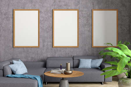 Three vertical blank posters mock up on concrete wall in interior of industrial style living room. 3d illustration