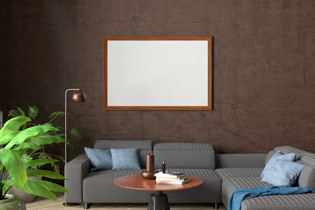 Horizontal blank poster mock up on brown wall in interior of contemporary living room. 3d illustration Standard-Bild