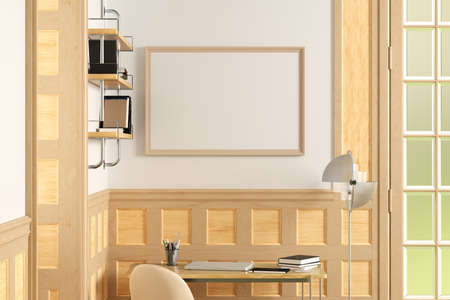 Horizontal blank poster mock up on white wall in interior of traditional style living room. 3d illustration